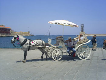 Coach at the Port of Chania