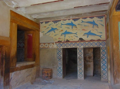 Knossos crete information for visitors for Dolphin mural knossos